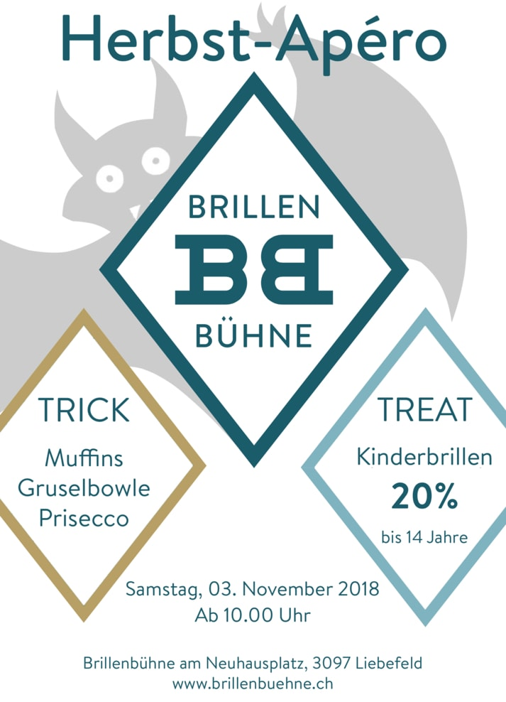 Kommen Sie am Samstag, 3.11.18, bei uns ab 10 Uhr zum Herbstapéro vorbei! Es erwartet Sie Süsses, Saures und 20% auf Kinderbrillen!